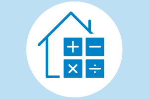 house and calculator icon